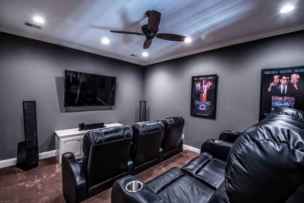 Home Movie Theater in Remodeled Basement in Memphis, TN